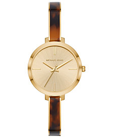 Michael Kors Women's Jaryn Gold-Tone Stainless Steel & Tortoise Acetate Half-Bangle Bracelet Watch 36mm
