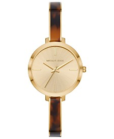Michael Kors Women's Jaryn Gold-Tone Stainless Steel & Tortoise Acetate Half-Bangle Bracelet Watch 36mm