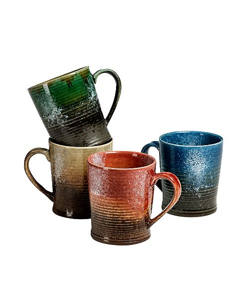 Over and Back Blaze Mugs Assorted Colors, Set Of 4