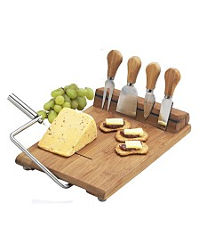 Picnic at Ascot Stilton Bamboo Cheese Board Set with Wire Slicer and 4 Tools