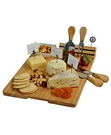 Windsor hardwood Cheese Board Set -Tools, Cheese Markers, Bowl