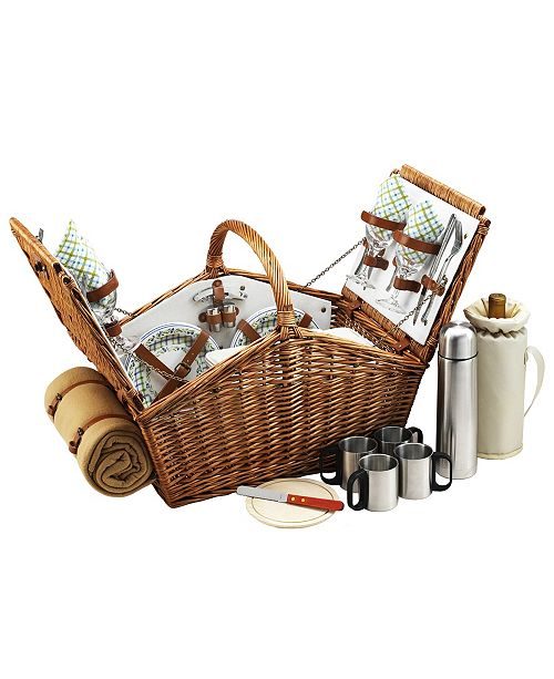 Picnic At Ascot Huntsman English-Style Picnic, Coffee Basket for 4 with Blanket