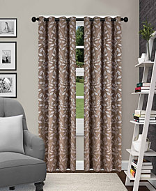"Superior Leaves Textured Blackout Curtain Set of 2, 52"" x 63"""