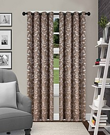 """Leaves Textured Blackout Curtain Set of 2, 52"""" x 96"""""""
