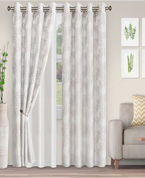 "Superior Lightweight Foliage Semi-Sheer Curtain Panels, (2), 52"" x 63"""