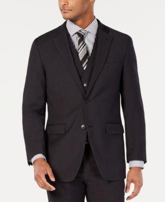Men's Portfolio Slim-Fit Stretch Black Solid Suit Jacket