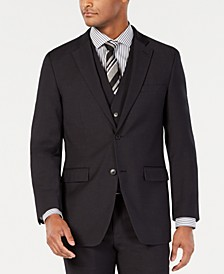 Men's Portfolio Slim-Fit Stretch Black Solid Suit Jacket