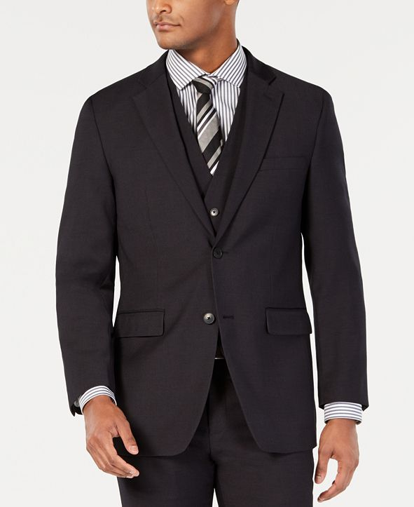 Perry Ellis Men's Portfolio Slim-Fit Stretch Black Solid Suit Jacket