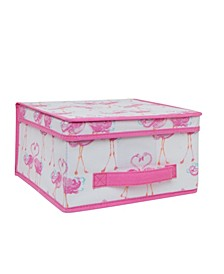 Kids Medium Collapsible Storage Box in Pretty Flamingo