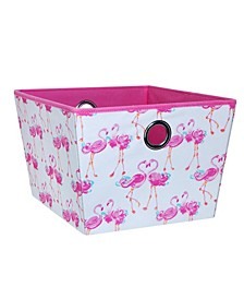 Kids Large Grommet Storage Bin in Pretty Flamingo