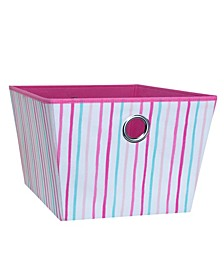 Kids Large Grommet Storage Bin in Painterly Pink Stripe