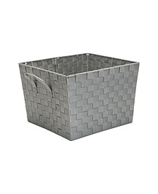 Large Woven Storage Bin in Gray