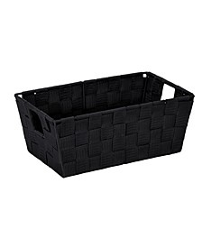 Small Woven Storage Shelf Bin in Black