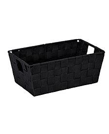 Simplify Small Woven Storage Shelf Bin in Black