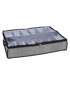 Simplify 12 Pair Under The Bed Shoe Storage Box in Black