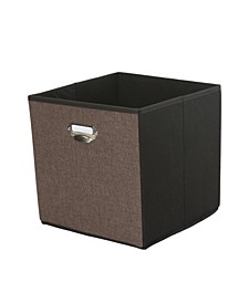 Linen Collapsible Storage Cube in Espresso