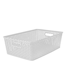 Simplify Textile Weave Large Decorative Storage Tote in White