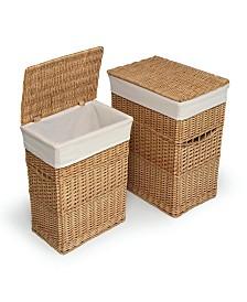 Badger Basket Wicker Two Hamper Set with Liners