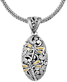 """Sweet Dragonfly Classic Sterling Silver Pendant  Necklace embellished by 18K Gold Accents on 4 strips of Dragonfly's Wings and White Cubic Zirconia, 18"""" Length"""