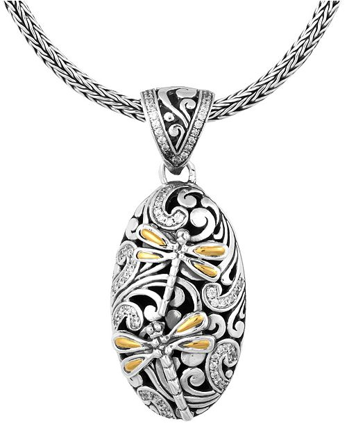 435138f7f171 Sweet Dragonfly Classic Sterling Silver Pendant Necklace embellished by 18K  Gold Accents on 4 strips of Dragonfly's Wings and White Cubic Zirconia, 20  ...