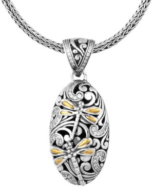 "Sweet Dragonfly Classic Sterling Silver Pendant Necklace embellished by 18K Gold Accents on 4 strips of Dragonfly's Wings and White Cubic Zirconia, 18"" Length -  Devata"