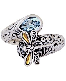 Sweet Dragonfly Classic Sterling Silver Ring embellished by 18K Gold Accents on 4 strips of Dragonfly's Wings and Blue Topaz