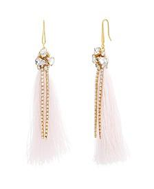 Women's White Rhinestone Yellow Gold-Tone Pink Tassel Earrings