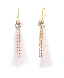 Catherine Malandrino Women's White Rhinestone Yellow Gold-Tone Pink Tassel Earrings