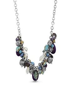 Women's Multicolored Rhinestone Silver-Tone Cluster-Style Chain Necklace