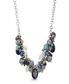 Catherine Malandrino Women's Multicolored Rhinestone Silver-Tone Cluster-Style Chain Necklace