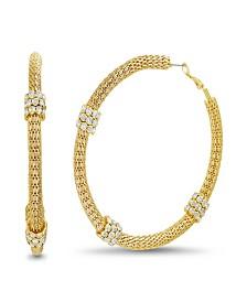 Catherine Malandrino Women's Textured White Rhinestone Yellow Gold-Tone Mesh Hoop Earrings