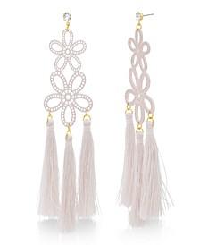 Women's Casted Pink Flower Design Yellow Gold-Tone Dangling Tassel Earrings
