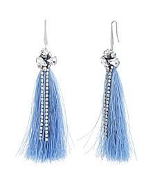 Women's Clustered White Rhinestone Blue Tassel Silver-Tone Hook Earrings