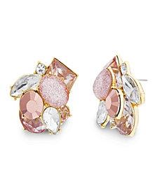 Catherine Malandrino Women's Light And Pastel Pink, White Rhinestone Clustered Yellow Gold-Tone Post Earrings