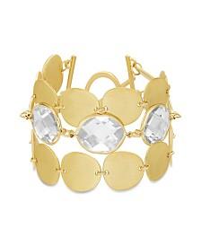 Catherine Malandrino Women's White Rhinestone Oval Disc Link Yellow Gold-Tone Toggle Bracelet