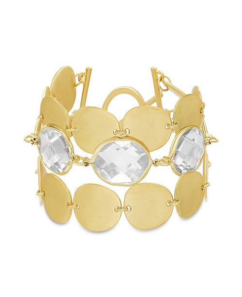 Catherine Malandrino Women's White Rhinestone Oval Disc Link Yellow Gold-Tone Toggle Bracelet