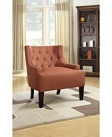 Wood and Polyfiber Accent Chair