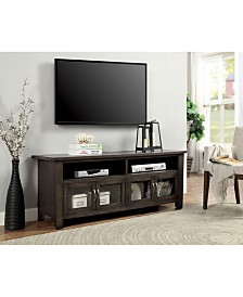 """60"""" Wooden Tv Stand With 2 Cabinets and 2 Open Shelves"""