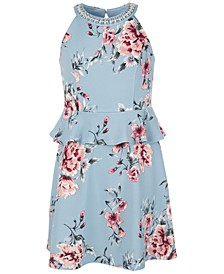 Big Girls Floral-Print Peplum Dress