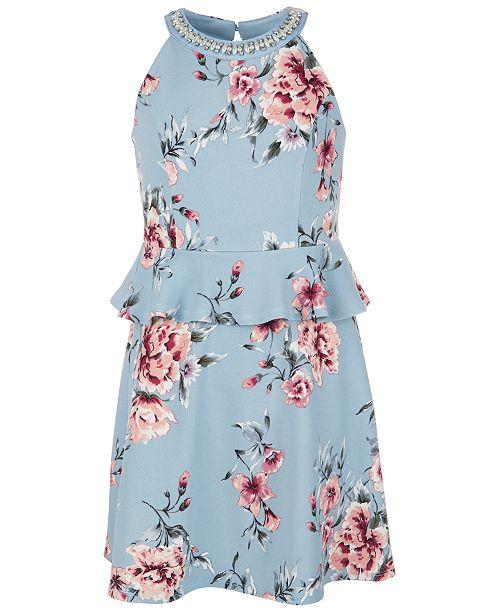Monteau Big Girls Floral-Print Peplum Dress