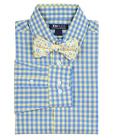 Tommy Hilfiger Big Boys Sailor Stretch Gingham Shirt & Floral Bow Tie