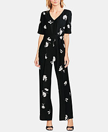 Vince Camuto Printed Belted Jumpsuit