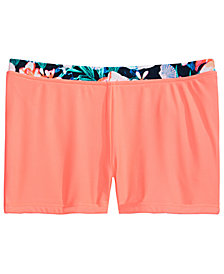 Ideology Big Girls Floral-Trim Swim Boyshorts, Created for Macy's