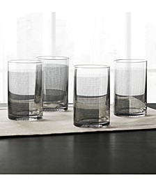 Black Geo Decal Glasses, Set of 4, Created for Macy's