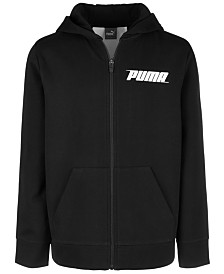 Puma Big Boys Logo-Print Zip-Up Hoodie