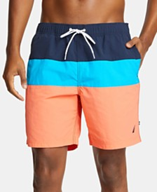 "Nautica Men's 9"" Colorblocked Drawstring Swim Shorts"