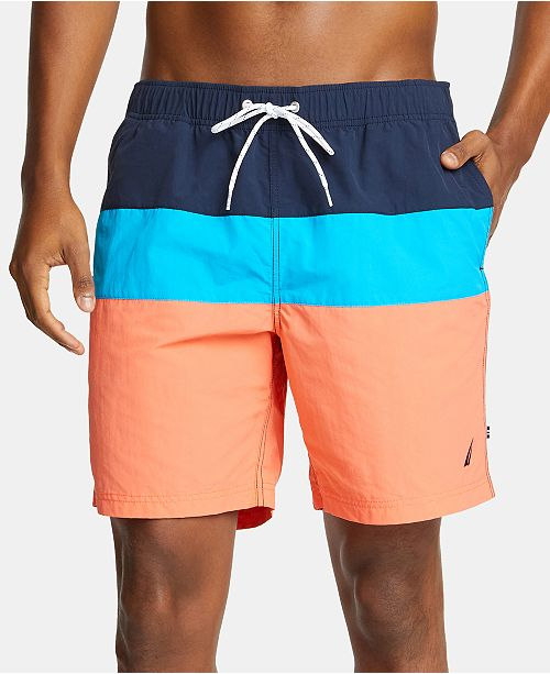 9d02432322 Nautica Men's 18' Colorblocked Drawstring Swim Shorts; Nautica Men's 18'  Colorblocked Drawstring Swim ...