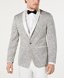 Men's Modern-Fit Silver Paisley Jacquard Dinner Jacket, Created for Macy's