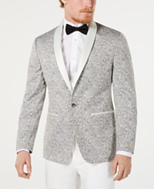 Ryan Seacrest Distinction™ Men's Modern-Fit Silver Paisley Jacquard Dinner Jacket, Created for Macy's