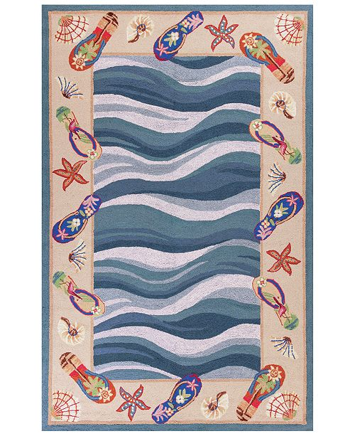 """Kas CLOSEOUT! Colonial Fun In The Sun 1810 Blue 3'6"""" x 5'6"""" Area Rug"""